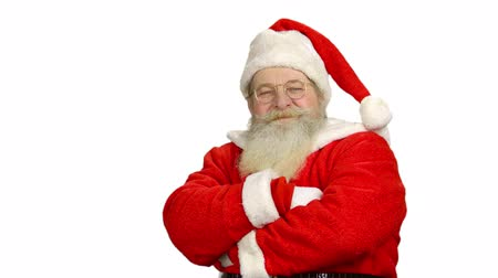souhlasit : Santa showing thumbs up isolated. Santa Claus, white background.