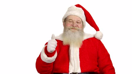 concordar : Santa Claus isolated, thumbs up. Santa, white background. Stock Footage