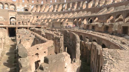 hypogeum : Inner part of Coliseum. Old ruins and sunlight. Stock Footage
