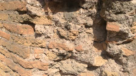 medeniyet : Damaged wall close up. Old bricks and cement. Stok Video
