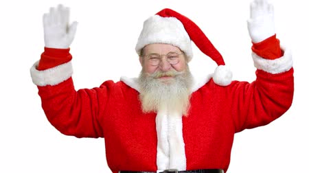 hail : Santa Claus is welcoming you and wanting you to come. White isolated background.