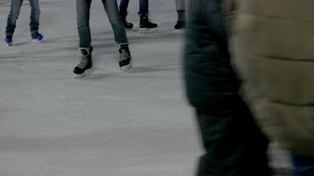 ice skating : Close-up view on an ice rink. Crowded ice rink. Stock Footage