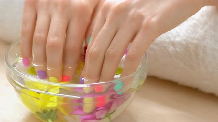 chrysanthemum : Spa treatment for female hands. Manicured hands in spa salon receiving spa procedure. Spa salon service. Stock Footage