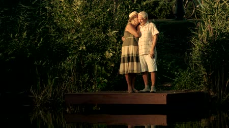 felsefe : Elderly couple kissing near water. Old man pointing with finger distance on summer nature background. Leisure of senior couple. Stok Video