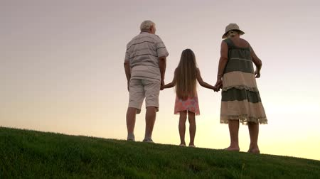 孫娘 : People standing on sunset background. Girl with grandparents holding hands on green grass. Happy family summer vacation on green meadow.