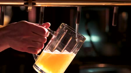 пивоваренный завод : Man pours beer into a glass. Bartenders hand pouring pint of beer behind the bar. Drops of beer out of beer tap.