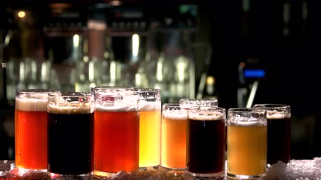 craft beer : Different sorts of draft beers. Set of alcoholic beverage. Stock Footage