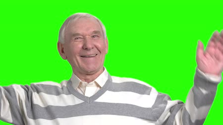 urge : Cheerful grandpa having conversation with you. Laughing grandfather talking to you and arguing, front view. Green hromakey background.