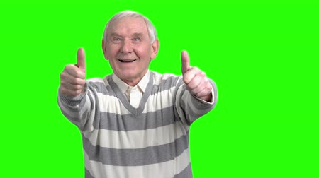 классный : Glad grandpa shows two thumbs up. Old cheerful grandfather showing two thumbs up. Стоковые видеозаписи