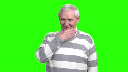 energized : Grandpa is interested in something. Old man touching chin. Granddad become excited, hromakey background. Stock Footage
