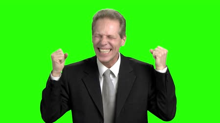 energized : Cheerful businessman rejoicing success. Successful businessman with raising hands in green hromakey background.