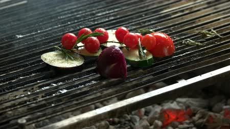eggplant : Vegetables on grill. Zucchini, cherry tomatoes and onion. Stock Footage