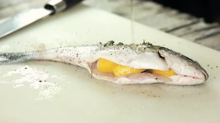 ぬいぐるみの : Raw stuffed fish close up. Dorado preparation, spices and oil. 動画素材