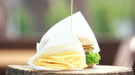 american cuisine : Fast food meal. French fries and chicken burger.