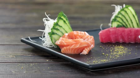 pistacje : Sashimi on a plate. Traditional Japanese food.