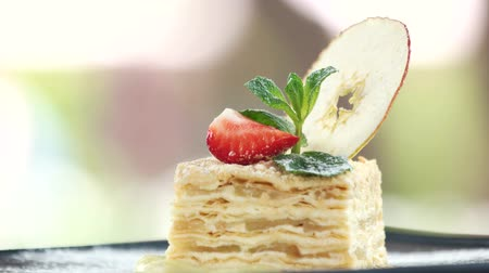 bafat : Napoleon cake close up. Garnished pastry dessert.