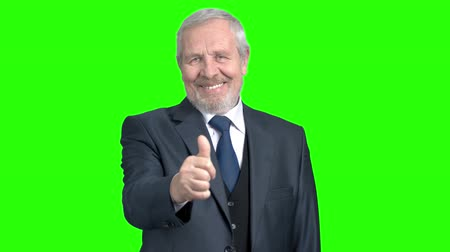 sostituzione : Cheerful confident businessman giving a thumb up. Happy elderly man in grey suit showing thumb up on Alpha Channel background. Filmati Stock