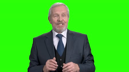 treinador : Senior business trainer gesturing with hand. Manager or senior business executive giving a presentation to staff, green screen. How to reach success in business conference.
