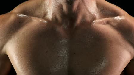 direnç : Close up muscular sweaty chest of sportsman. Toned male body doing exercises with rubber band close up. Hard efforts in muscles building. Stok Video