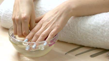 chrysanthemum : Hands receiving spa therapy, slow motion. Delicate female hands receiving spa procedure in glass bowl with flowers. Skin treatment and care. Stock Footage