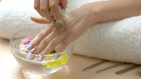 chryzantema : Hands getting spa, slow motion. Young woman manicured hands with chrysanthemums receiving spa therapy, glass bowl with water. Hands spa care.