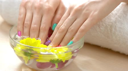 chrysanthemum : Hands receiving spa therapy, slow motion. Delicate female hands with pastel summer manicure in glass bowl with water and colorful flowers on table in spa salon. Hands spa care. Stock Footage