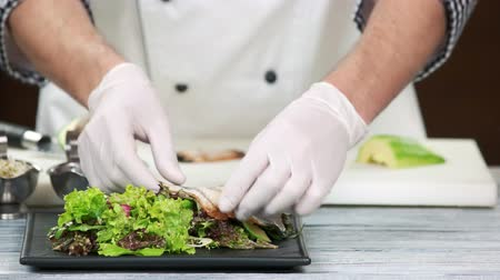 seafood recipe : Hands of chef making salad. Lettuce, smoked eel and avocado. Stock Footage