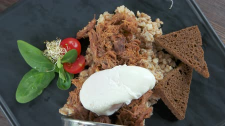 grain bread : Tasty food, barley porridge. Cereal, meat and egg.