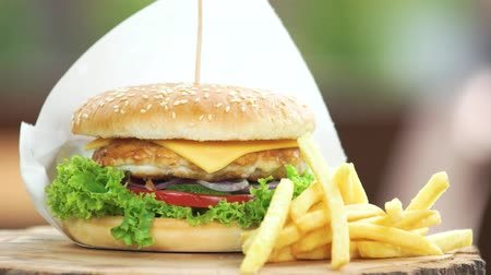 broodje kip : Hamburger en frietjes close-up. Lekker fastfood. Stockvideo