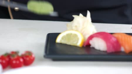 seafood recipe : Sushi, wasabi and ginger. Japanese food close up.