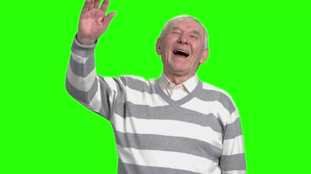 energized : Grandpa laughing at nonesense, slow-motion. Old man laughing because of hogwash against green background.