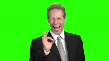 publicity : Laughing man with ok gesture. Mature business man in suit shows ok gesture and laughing, green background for keying. Stock Footage