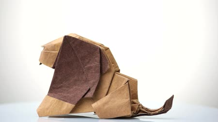 dobrável : Origami lion isolated on white background. Wet-folding design. Concept of paper craft.