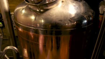 konvice : Brewery equipment close up. Brewery tank camera motion from bot to top. Dostupné videozáznamy