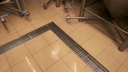 distillation : Tile floor in brewery. Top view tile floor in beer plant.