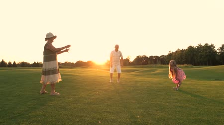 孫娘 : Girl and grandparents playing ball. Senior people and their granddaughter having fun outdoors. People having rest on green lawn, summer.