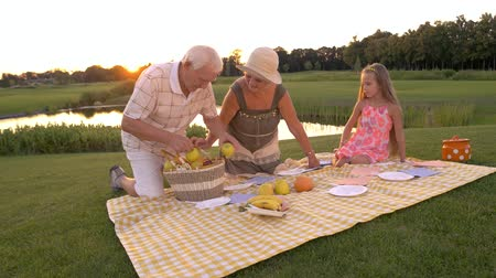 カトラリー : Seniors with granddaughter, nature. Elderly people placing fruits on picnic cloth. Grandparents with child on picnic. Happy time on fresh air.
