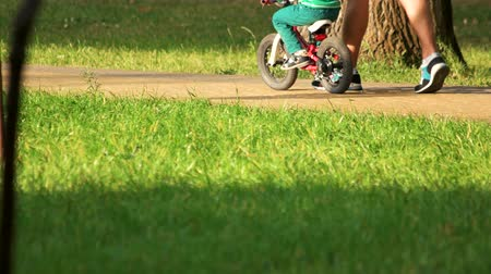 bisikletçi : 17.09.2017 - Kyiv, Ukraine. Little kid riding bike, close up. Leisure in the park. Green grass.