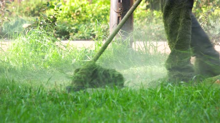 mow : Worker using a lawn trimmer mower cutting grass. man mowing the grass, the mower close up.