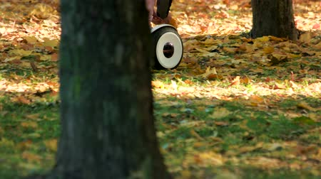 gyro : Electric gyro scooter board riding on green grass. Picking up oak leaves. Driving in forest. Stock Footage
