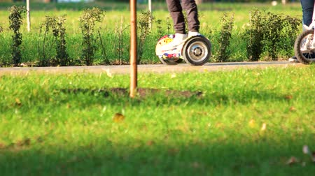 gyroscope : 17.09.2017 - Kyiv, Ukraine. Child riding gyroscooters in the park. Green grass surface.
