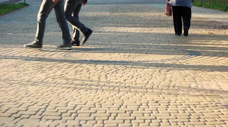 cobbles : Walking people on the cubblestone pavement. Slowly walking grandma in the park. Stock Footage