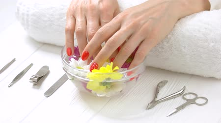 ricevere : Woman hands in glass bowl. Woman hands in a nail salon receiving a manicure. Young woman hands pulling out of aroma bath yellow chrysanthemum. Skin care and treatment.