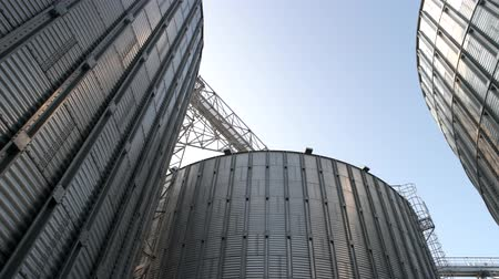 хранилище : Stainless steel grain bins, up view. Gather of metal buildings.