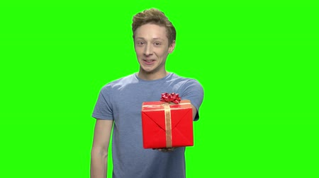 deha : Teenage boy with gift box and thumb up. Green screen hromakey background for keying. Stok Video