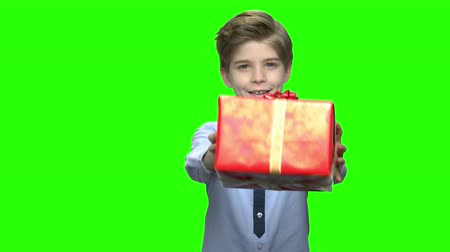 hromakey : Little boy shaking red gift box. Giving a present for birthday. Green hromakey background for keying. Stock Footage