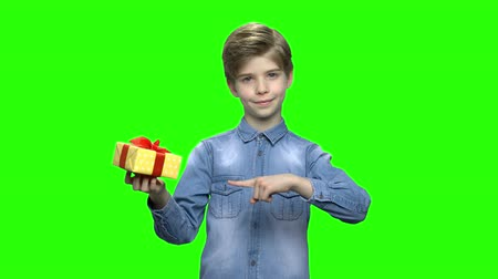brim : Boy in denim jacket holding yellow gift box and pointing finger. Green hromakey background for keying. Stock Footage