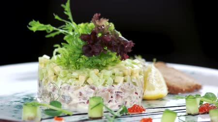 śledź : Herring tartare macro. Delicious restaurant food. Wideo