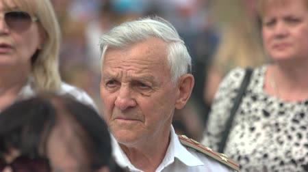 medalha : 09.05.2018, Ukraine, Kiev. Portrait of old veteran of world war. Celebrating anniversary of victory.