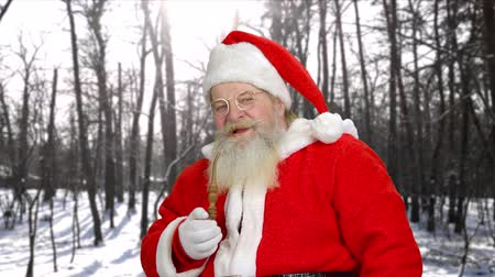 santaclaus : Senior Santa Claus smoking his pipe outdoors. Elderly man wearing Santa Claus uniform showing thumb up on winter nature background. Winter holidays and people concept. Stock Footage